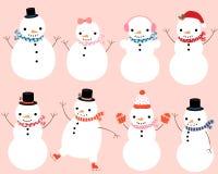 Nette Schneemanncharaktere stock abbildung