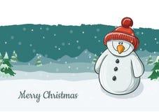 Nette Schneemanncharakterillustration, die mit roter Strickmütze für Weihnachten und Winter lächelt Stockbild