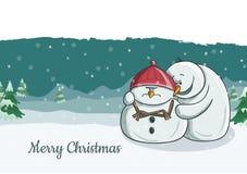 Nette Schneemanncharakterillustration, die versucht, seinem mürrischen Freund zuzujubeln Stockfoto