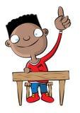 Nette schwarze Schuljungen-Erhöhungshand in der Klasse lizenzfreie abbildung