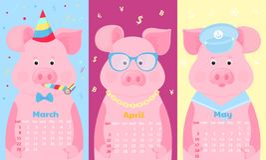 Nette Schweine im Geburtstagshut, in den Gläsern und im Seemannkostüm Lustiges Tier Monatskalender für März, April, im Mai 2020 W vektor abbildung