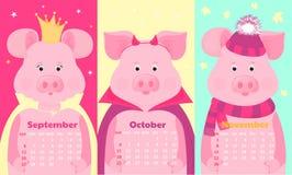 Nette Schweine im Hut und im Schal, in der Krone, in Halloween-Kostüm Lustiges Tier Monatskalender für September, Oktober, im Nov stock abbildung