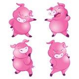 Nette Schweine viele Aktionen stock abbildung