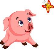 Nette Schweinkarikaturaufstellung stock abbildung