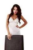 Nette, sexy Frau in der Wäsche lokalisiert auf Weiß Lizenzfreies Stockbild