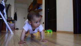 Nette sieben Monate alte Baby, die auf den Boden kriechen und versuchen, oben zu stehen stock video