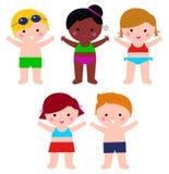 Nette Sommer-Kinder im Badeanzugsatz vektor abbildung