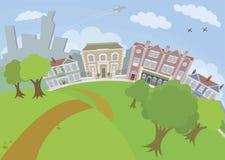 Nette städtische Szene mit Park und Häusern Lizenzfreie Stockfotografie