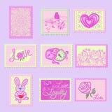 Nette Stempel in den Schatten des Graus mit dem Bild von Herzen, Rosen, Verschlüsse, Aufschriften lieben und Muster lizenzfreie abbildung