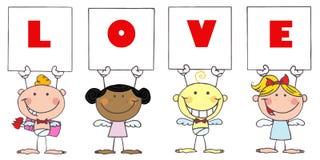 Nette Steuerknüppel-Amoren, die Liebes-Zeichen anhalten Lizenzfreie Stockfotos