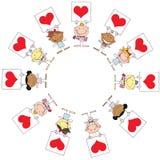 Nette Steuerknüppel-Amoren, die rote Inner-Zeichen anhalten Lizenzfreie Stockbilder