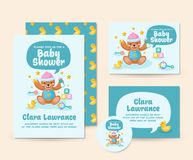 Nette Teddy Bear Theme Baby Shower-Einladungs-Karten-Illustrations-Schablone Lizenzfreie Stockbilder