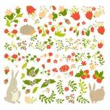 Nette Tiere auf magischem Waldvektordesign Karikaturkaninchen- und -igelillustrationen für Baby auf hellem Hintergrund Lizenzfreie Stockbilder