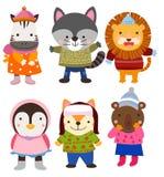 Nette Tiere in der Winterkleidung stockbilder