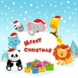 Nette Tiere, die Weihnachten feiern stock abbildung