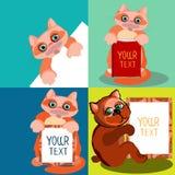 Nette Tiere, gezeichnet in eine Karikaturart Satz der Illustrationen mit Raum für Text Lizenzfreie Stockfotografie