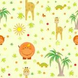 Nette Tiere Giraffe, Flusspferd, Schildkröte, Karikatur, Palmen, Affe scherzt nahtloses Muster Stockbilder