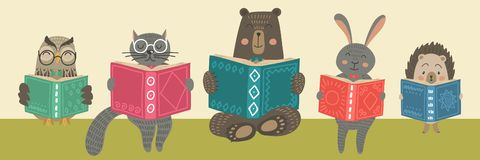 Nette Tiere readimg Bücher vektor abbildung