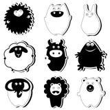 Nette Tiere (schwarze Version) Stockfotos
