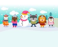Nette Tiere und Schneemann stockfotos