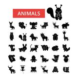 Nette Tierillustration, dünne Linie Ikonen, lineare flache Zeichen, Vektorsymbole stock abbildung