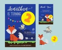 Nette Tierthema-Geburtstagsfeier-Einladung und danken Ihnen, Illustrations-Schablone zu kardieren Lizenzfreie Stockfotografie