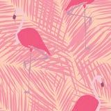 Nette tropische Blätter und nahtloser Musterentwurf des Flamingos lizenzfreie abbildung