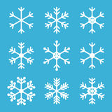 Nette umrissene Schneeflocken für Winter und Weihnachten entwerfen Lizenzfreie Stockfotografie
