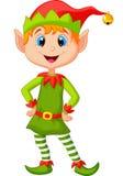 Nette und glückliche schauende Weihnachtselfenkarikatur Stockfotos