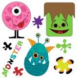Nette und lustige Monstersammlung Lizenzfreies Stockbild