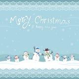 Nette und lustige Schneemänner Frohe Weihnachten! Die Rotwild des neuen Jahres auf einem roten Hintergrund Lizenzfreies Stockbild