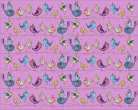 Nette und lustige Vögel auf einem rosa Hintergrund Auch im corel abgehobenen Betrag Stockfoto