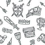 Nette und moderne Dekoration des Fantasie-Königreich-Element-nahtlosen Musters - vektor abbildung