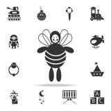 nette und zarte Bienenspielzeugikone Ausführlicher Satz des Babys spielt Ikonen Erstklassiges Qualitätsgrafikdesign Eine der Samm stock abbildung