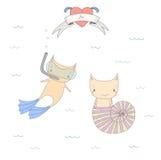 Nette Unterwasserkatzenillustration Stockfotos