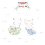 Nette Unterwasserkatzenillustration Lizenzfreie Stockfotografie