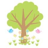 Nette Vögel, Baum, Blumen und Schmetterlingskarikatur Lizenzfreie Stockbilder