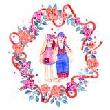 Nette Valentinsgrußhasen Junge und Mädchen Ein paar Liebhaberkaninchen auf Blumenkranz lizenzfreie abbildung