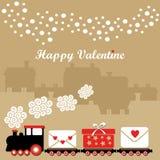 Nette Valentinsgrußkarte mit Zug, Buchstaben mit Herzen, Geschenk, Winterhäuser, fallende Schneeflocken, Illustrationshintergrund Stockbilder