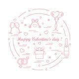Nette Vektorillustration: Geschenke, Ballone, Stemware, Schlüssel, gende Stockfotografie