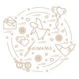 Nette Vektorillustration mit verschiedenen Liebessymbolen: Herzen, ai Lizenzfreie Stockbilder