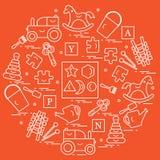 Nette Vektorillustration mit Vielzahl von Kindern \ 's-Spielwaren vereinbaren lizenzfreie abbildung