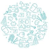 Nette Vektorillustration mit Vielzahl von Kindern \ 's-Spielwaren vereinbaren stock abbildung
