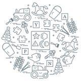 Nette Vektorillustration mit Vielzahl von Kindern \ 's-Spielwaren vereinbaren vektor abbildung