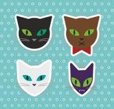 Nette Vektorköpfe der Katzen, Vektorillustration Lizenzfreies Stockbild