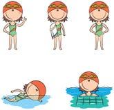 Nette Vektorschwimmermädchen in den verschiedenen Sportsituationen Lizenzfreie Stockfotografie