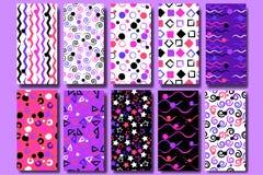 10 nette verschiedene nahtlose Muster Gewellte Linien, Quadrate, Strudel, Kreise, Bürstenanschläge, Dreiecke und Sterne Endloses  stock abbildung