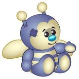Nette violette Biene - das angefüllte Spielzeug der alte Kinder mit Flecken Vektor in der Karikaturart lokalisiert auf Weiß Lizenzfreies Stockbild