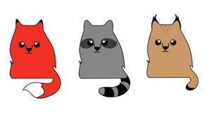 Nette Waldtiere: ein Fuchs, ein Waschbär und ein Rotluchs stockfoto