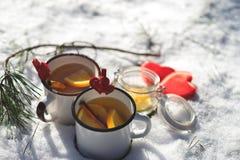 Nette warme Tasse Tee oder Kaffeefreien in der schneebedeckten Szene stockfotografie